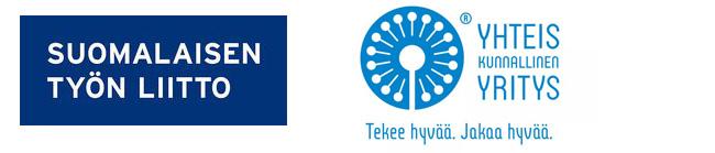 Suomalaisen työn liiton logo. Yhteiskunnallinen yritys, tekee hyvää ja jakaa hyvää logo.