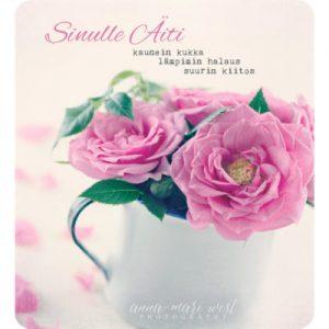 Äitienpäiväkortti, jossa vaaleanpunaisia ruusuja.