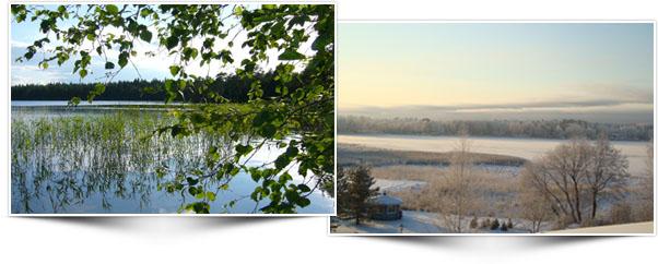 Vasemmalla puun vihreiden oksien takaa maisema Kymijoelle, jossa vihreää kaislikkoa. Oikealla talvinen, luminen maisema Kymijoelle päin parvekkeelta kuvattuna.